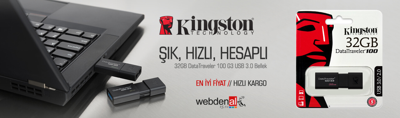 Kingston 32GB DataTraveler 100 G3 USB 3.0 Bellek