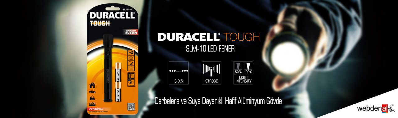 Duracell Tough SLM-10 LED Fener - 2xAA Pil Hediyeli